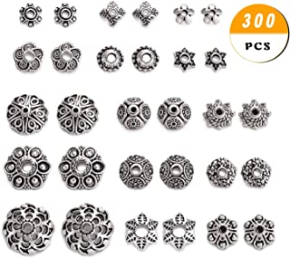 JEWMAY 300Pcs Tibetan Silver Bead Caps Metal Spacers Jewelry Findings Accessories for Bracelet Necklace Jewelry Making