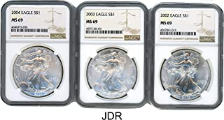 2002 2003 2004 Silver Eagle 3 Coin Set MS-69