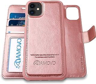 AMOVO iPhone 12 mini 用 ケース 手帳型 分離式 マグネット 取り外し自由 ワイヤレス充電に対応 カード収納 横開き スタンド機能 アイフォン 12 ミニ 用 手帳カバー (iPhone 12 mini,ローズゴールド)