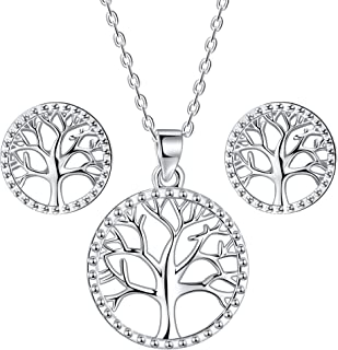 Lydreewam árbol de la Vida Juegos de Joyas Collar Pendientes Conjuntos para Mujer Plata de Ley 925 con Caja de Regalo, Col...