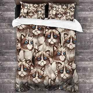 Blue Eyes Grumpy Cat Microfiber Comforter Set 86x70 in, Unique 3 Piece Bedding Sets with 2 Pillowcase