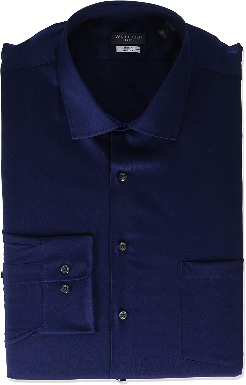 Van Heusen Tall Mens Dress Shirts Big Fit Flex Solid Spread Collar, Petrol, 18