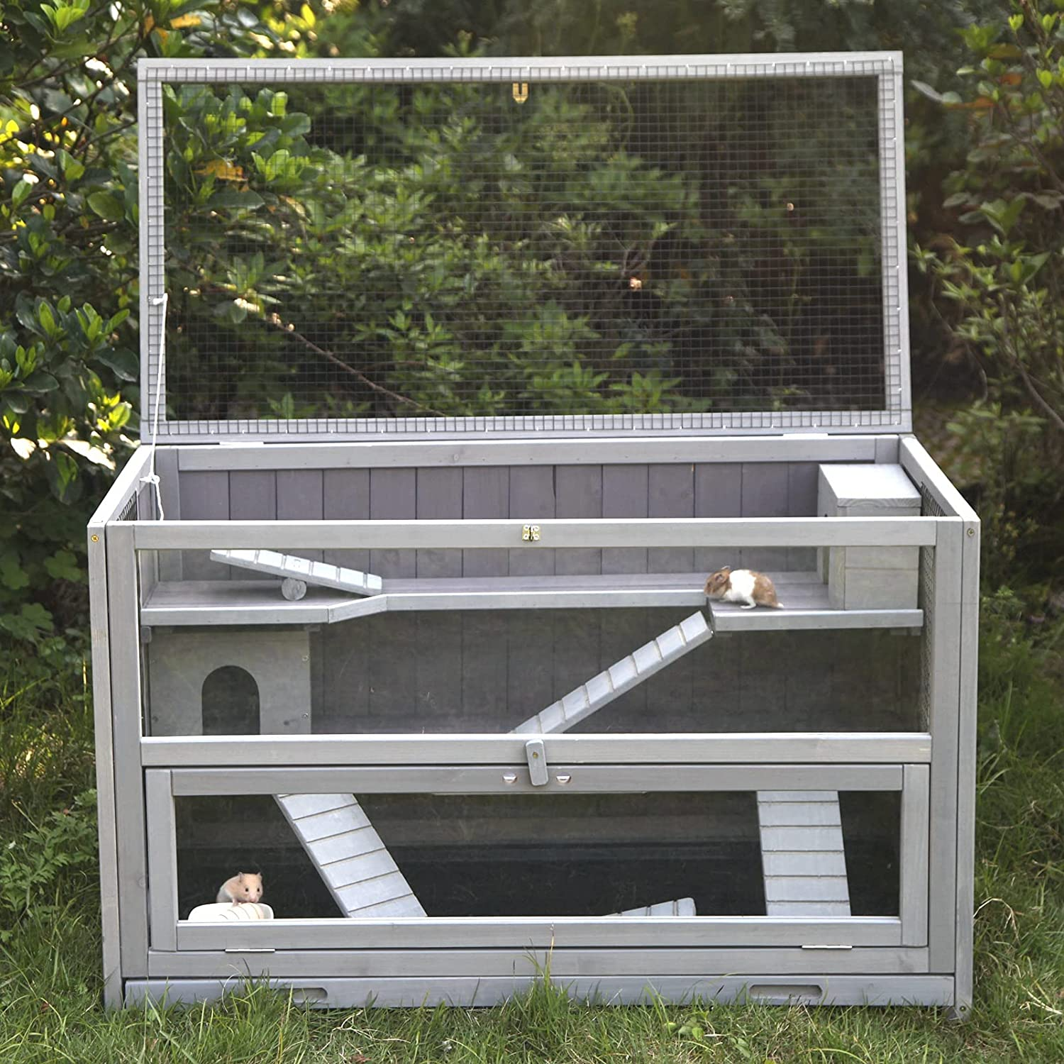 GUTINNEEN Hamster Cage Rat House with Chewing Toy, Food Bowl, Seesaw,  Hideout and Plastic Tray