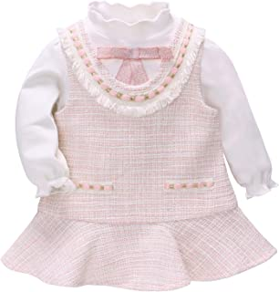 Xifamniy Infant Girls Long Sleeve 2pcs Sets Cotton White Tops Matching Princess Dress
