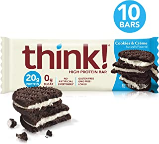 Think! (thinkThin) High Protein Bars - Cookies and Crème, 20g Protein, 0g Sugar, No Artificial Sweeteners, Gluten Free, GMO Free, 2.1 oz bar (10 Count - Packaging May Vary)