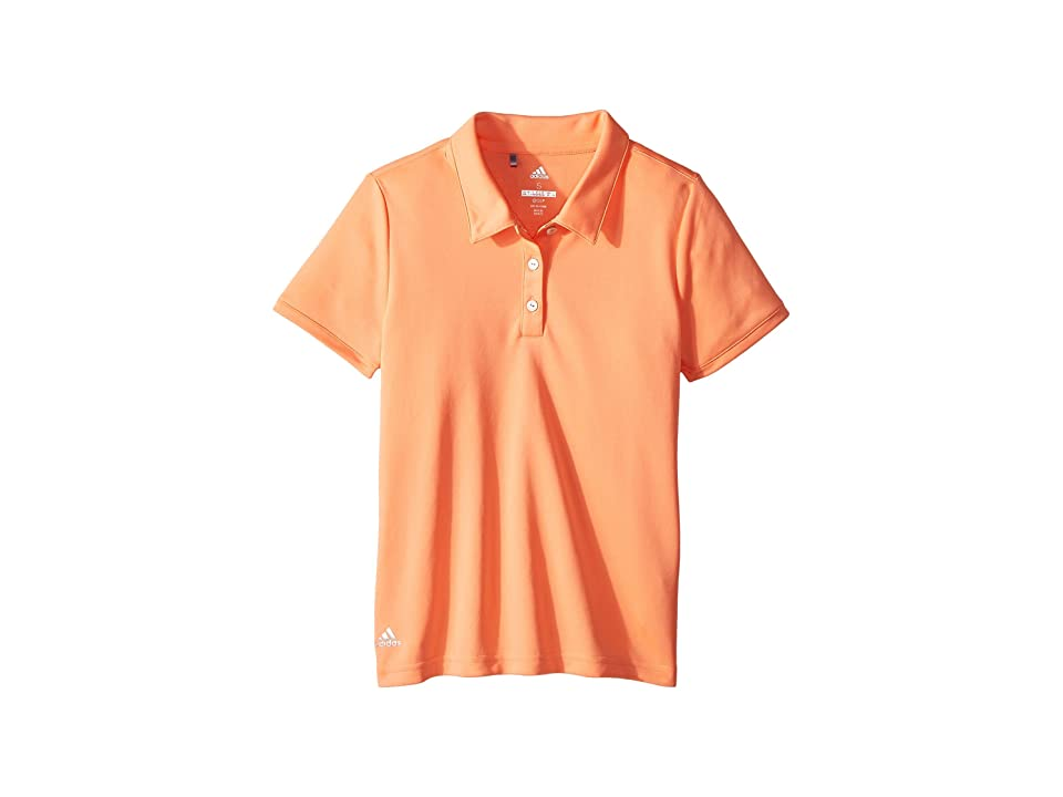 Image of adidas Golf Kids Performance Short Sleeve Polo (Big Kids) (Chalk Coral) Girl's Clothing