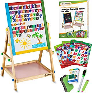 YARMOSHI Blackboard / Whiteboard Easel, Sturdy, Double-Sided, Adjustable, Fixed Bottom Tray, Magnetic Sponge, Marker Pen and Upper and Lower Case Letters and Numbers,12 Chalks - Toddlers Learning Play