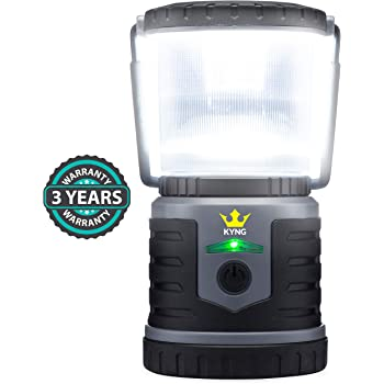KYNG Rechargeable LED Lantern Brightest Light for Camping, Emergency Use, Outdoors, and Home- Lasts for 250 Hours on a Single Charge- Includes USB Cord and Wall Plug, Built in Phone Charger