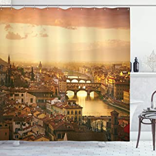 Ambesonne Wanderlust Decor Collection, Bridge Ponte Vecchio Italy Bird Eye Sunset View Castle Houses Historic Cityscape, Polyester Fabric Bathroom Shower Curtain, 84 Inches Extra Long, Ivory Peach