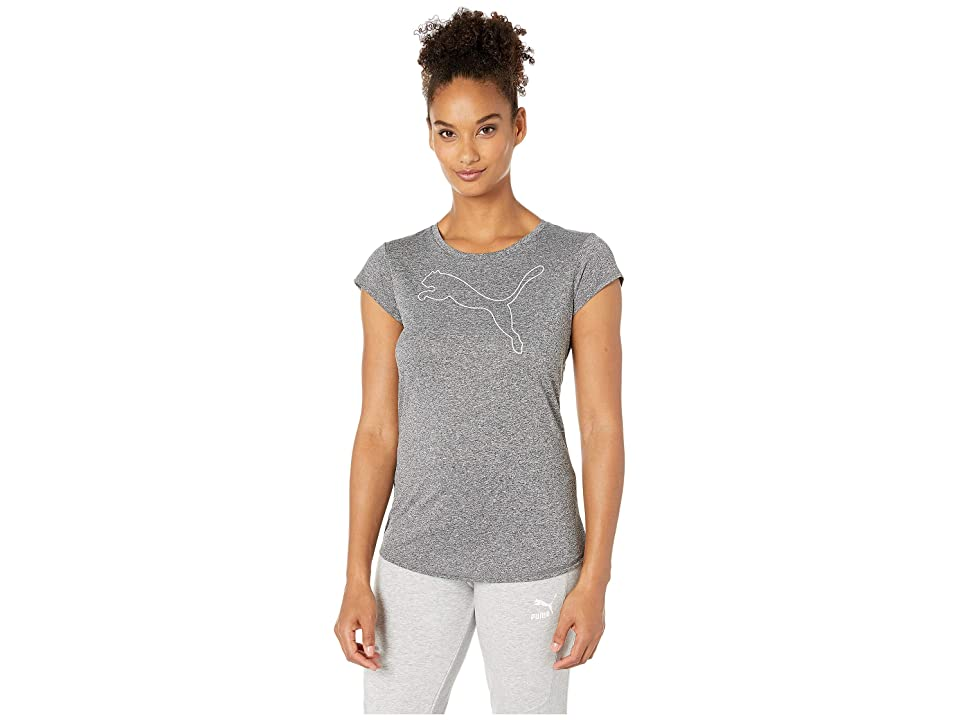 PUMA Active Logo Heather Tee (Puma Black Heather) Women