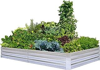 Galvanized Raised Garden Beds for Vegetables Large Metal Planter Box Steel Kit Flower Herb, 8x4x1ft