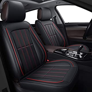 LUCKYMAN CLUB Seat Covers fit Most Car SUV Truck fit for Chrysler 300 300C 200 Ford Focus Fusion Edge Escape Hyundai Sonata Tucson Jeep Renegade (Full Set, Black and Red)