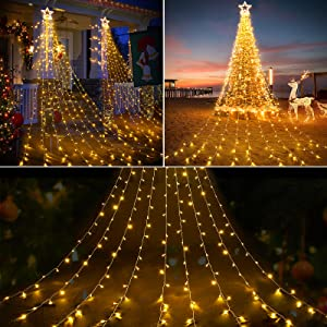DDMY 317 LEDs Landscape String Lights, Twinkle Star Fairy Lights with 8 Scence Modes for Wedding Christmas Festival Outdoor (Warm White)