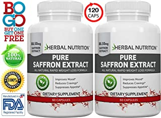 #1 Rated Saffron Extract, 88.5mg, BOGO 60 Capsules per Bottle, 100% Satiereal Saffron Extract, All Natural Mood Enhancer, Feel Great and Lose Weight, Promotes Eye Health, Free Shipping