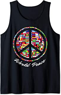 World Peace Sign Flags of Nations International Hippie Retro Tank Top