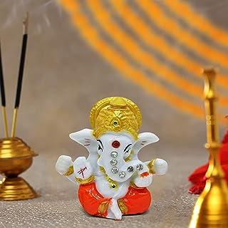 TIED RIBBONS Mini Ganesha Statue Sculpture Idol for Car Dashboard Home Temple Decor (2 X 2.3 Inch , L X H)