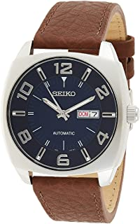 ساعت مچی اتوماتیک مردانه سیکو Seiko Men's Blue Dial Brown Leather Strap Automatic Watch