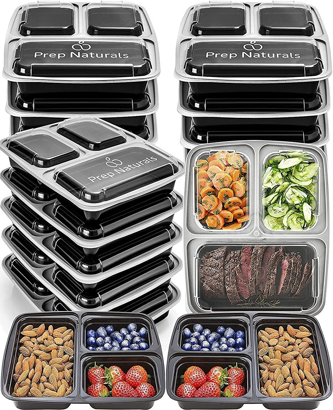 Meal Prep Containers 3 Compartment [15 pack, 32oz] - Bento Box Food Containers BPA Free Bento Boxes For Adults Lunch Containers - Plastic Containers with Lids Food Storage Containers with Lids