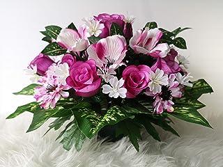 roselynexpress Composition de Fleurs artificielles lesté Ciment pour Une Parfaite Tenue à l' extérieur vu Son Poids, Réali...