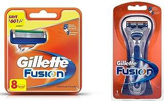 Gillette Fusion Manual Shaving Razor Blades - 8s Pack (Cartridge) & Fusion Manual Razor Combo