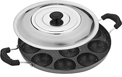Attro Non-Stick Heavy Duty 12 Cavity Appam Patra Paniyarakkal Two Side Handle with Steel lid & Wooden Picker (Marble Grey)