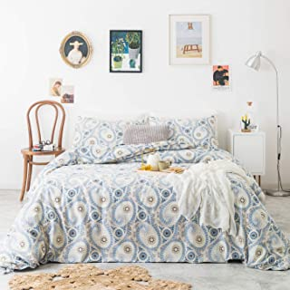 SUSYBAO 3 Piece Duvet Cover Set 100% Natural Cotton Queen Size Blue Paisley Bedding Set with Zipper Ties 1 Boho Chic Floral Duvet Cover 2 Bohemian Pillowcases Hotel Quality Soft Comfortable Easy Care