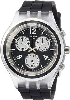 ساعة سواتش إطار أسود مينا سوداء كرونوغراف للرجال SVCK1004