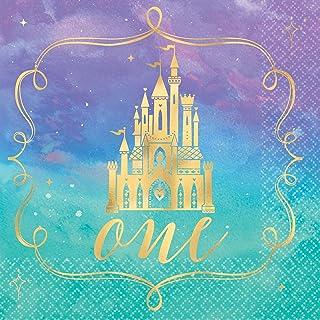 """Disney Princess"" 1st Birthday Metallic Beverage Party Napkins, 5"" x 5"", 16 Ct."