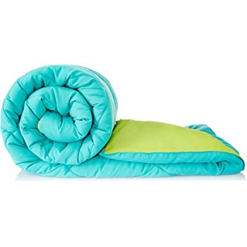 Amazon Brand - Solimo Microfiber Reversible Comforter, Double (Aqua Blue & Olive Green, 200 GSM)