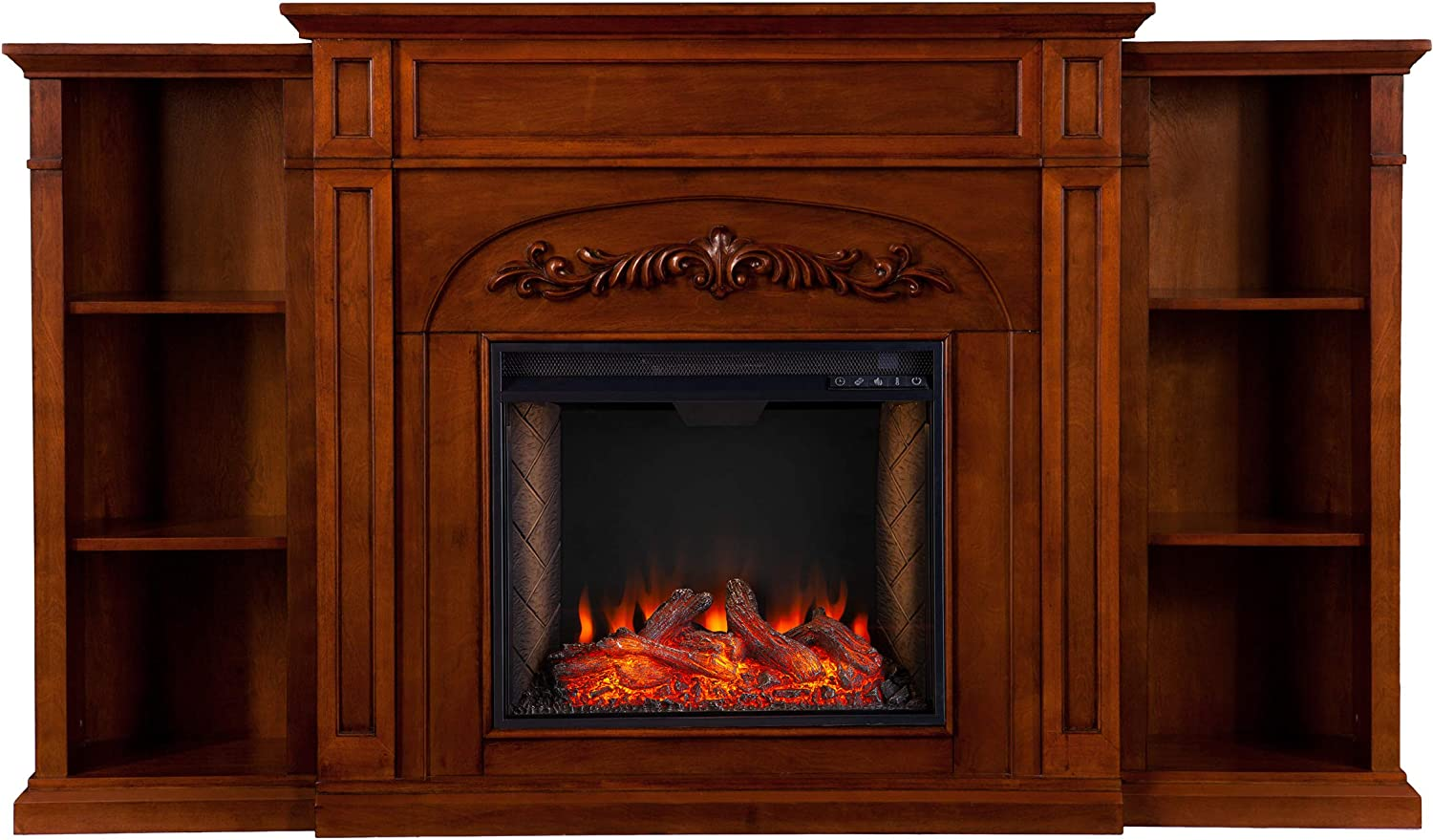 NEW ARRIVAL SEI Furniture Chantilly Alexa-Enabled Electric 信用 Firepla Bookcases