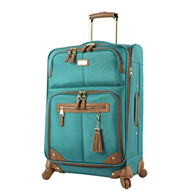 Steve Madden Designer Luggage - Checked Large 28 Inch Softside Suitcase - Expandable for Extra Packing Capacity - Lightweight Bag with Rolling Spinner Wheels (Harlo Teal Blue)