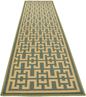 Ancient Greek Style Design Printed Slip Resistant Rubber Back Latex Runner Rug and Area Rugs (Sage Green Aqua Blue, 1'11