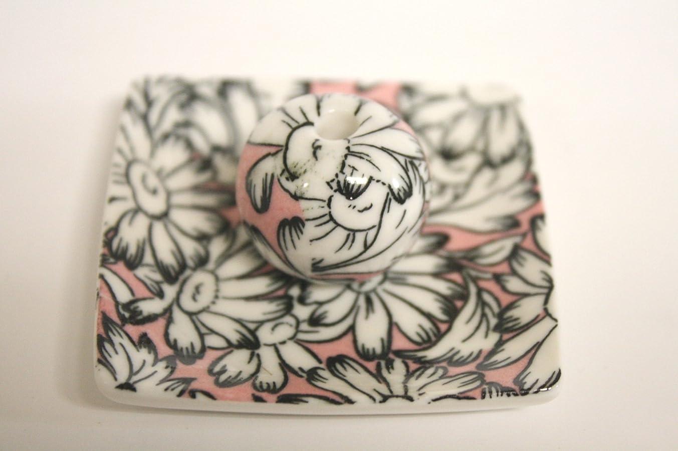 粘着性売る移行するマーガレットピンク 小角皿 お香立て 陶器 ACSWEBSHOPオリジナル