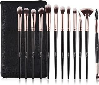 Eye Makeup Brush Set, 12 PCS Professional Eye shadow, Concealer, Eyebrow, Foundation, Powder Liquid Cream Blending Brushes Set With Carrying Bag (Black)