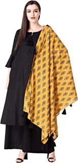 Ortange Women's Rayon Kurta And Palazzo With Printed Dupatta Set (Black)