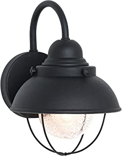 Sea Gull Lighting 8870-12 Sebring One-Light Outdoor Wall Lantern with Clear Seeded Glass Diffuser, Black Finish