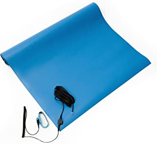 Bertech 2059S-18x24BKT Rubber ESD Soldering Mat Kit with a Wrist Strap and Grounding Cord, 18