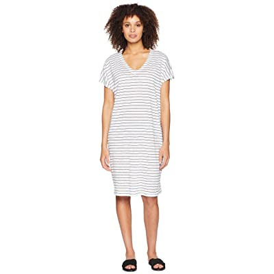 Eileen Fisher V-Neck Knit Linen Dress (White/Black) Women