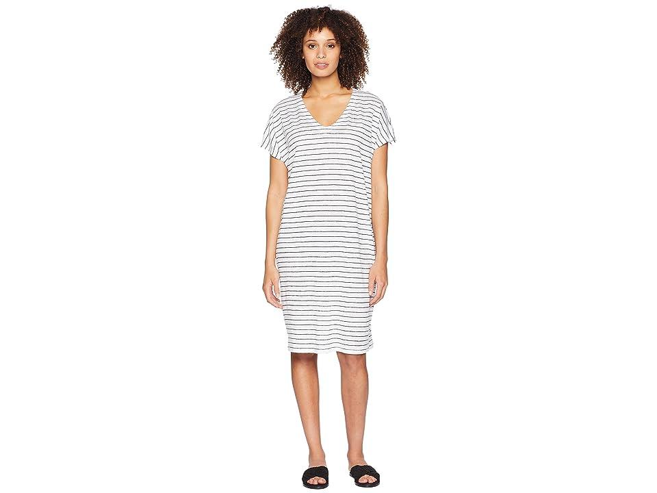 Eileen Fisher V-Neck Knit Linen Dress (White/Black) Women