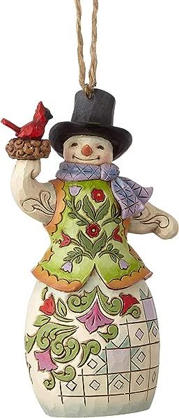 Enesco Jim Shore Heartwood Creek Snowman With Cardinal Hanging Ornament 4 75 Multicolor