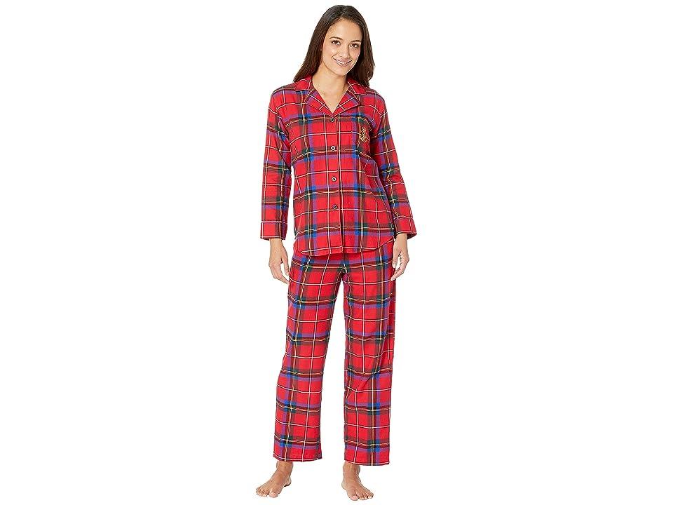 LAUREN Ralph Lauren Petite Brushed Twill Long Sleeve Classic Notch Collar Pajama Set (Red Plaid) Women