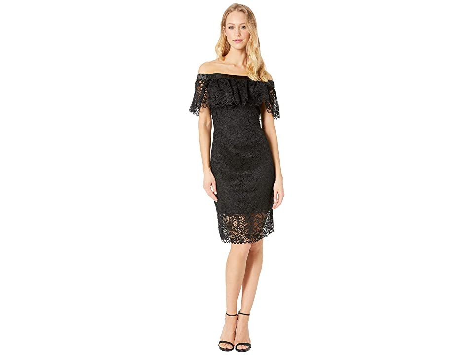 Betsey Johnson Off the Shoulder Lace Dress (Black) Women