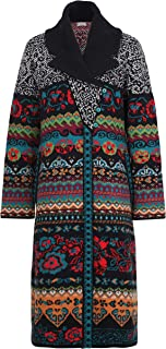 IVKO Collar Geometric Pattern Coat in Black Extra Fine Merino Wool and Nylon Button Up Sweater Jacket