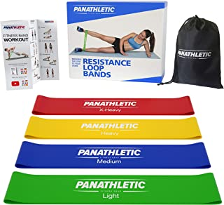 Bandes Élastiques de Résistance / Bandes Musculation, avec Guide d'Exercices, eBook en Français et Sac de Transport, Set de 4 Bandes - 4x bande elastique pour fitness, yoga, pilates, crossfit