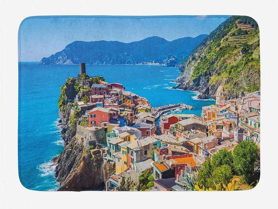 イヤホン花輪シビックヴェルナッツァバスマット、イタリア住宅崖と海のチンクエ?テッレの村、滑り止めバッキングとぬいぐるみバスルームインテリアマットの魅力的な景観、40×60センチ、多色 [並行輸入品]
