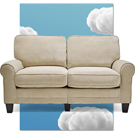Serta Copenhagen 61 Loveseat Pillowed Back Cushions And Rounded Arms Durable Modern Upholstered Fabric Tan Home Kitchen