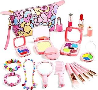 Auney Kids Makeup Kit, Pretend Play Makeup for Girls, 20 PCS Kids Fake-Makeup Toy Including Cosmetic Bag, Mirror, Lipstick...