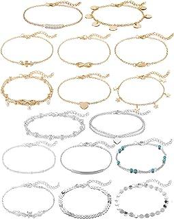 Softones 16Pcs Ankle Bracelets for Women Girls Gold...