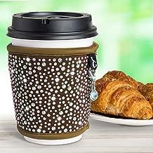 Insulated Coffee Cup Sleeves Reusable - Neoprene Custom Bling Rhinestone Design Coffee Cup Holder | Tea Coffee Cup Sleeve | Hot Cup Sleeves Fits 8oz 10oz 12oz 16oz Cups | Keep Coffee Warmer Longer
