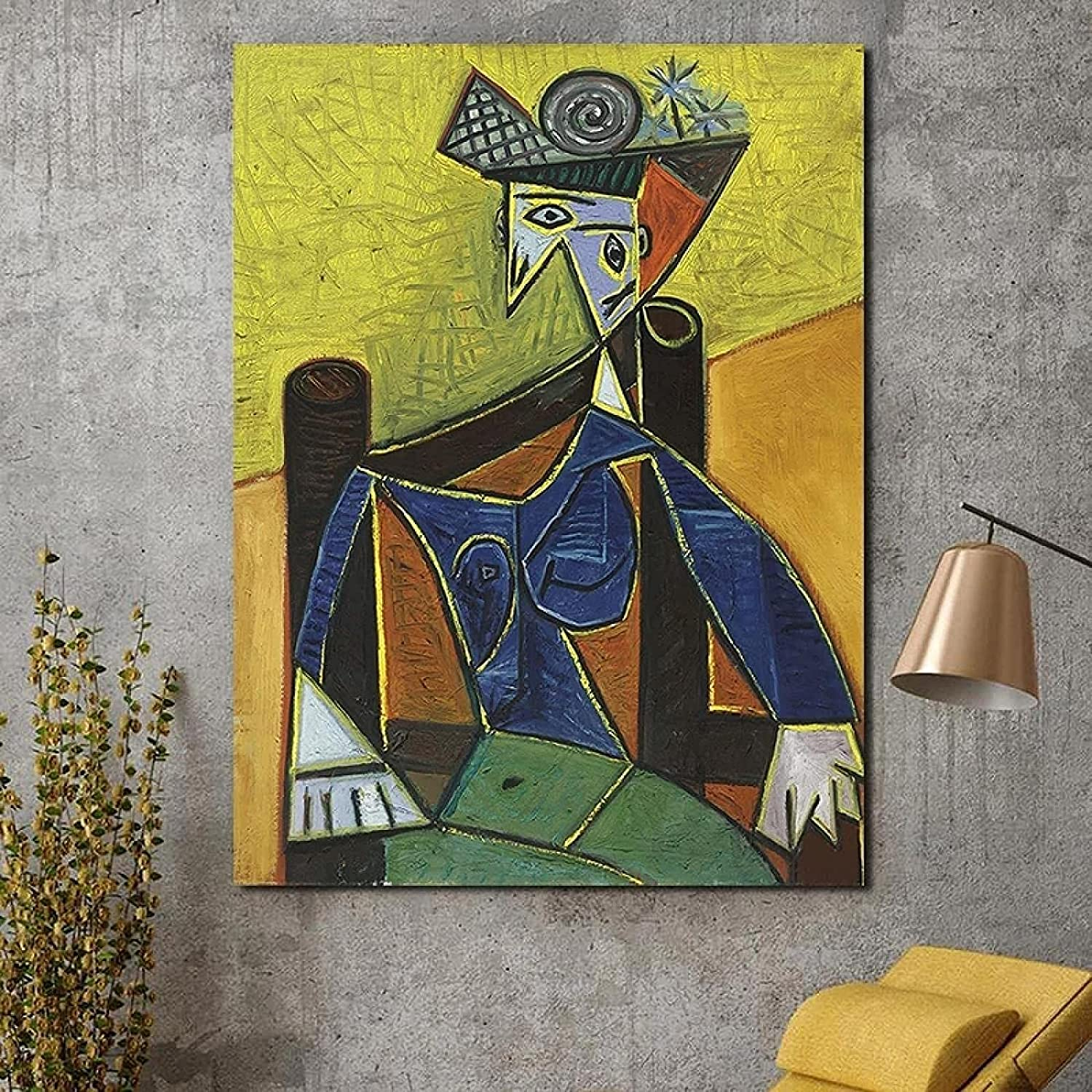 Wall Pictures Picasso Woman Sitting Poster Canvas Armchair in an All items free shipping Max 82% OFF